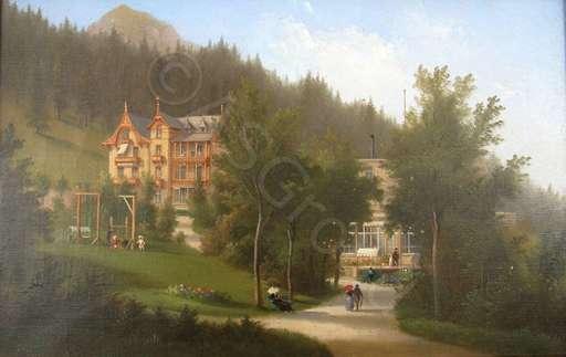 Ferdinand SOMMER - Painting - Das Kurhaus Villa Germania in Davos