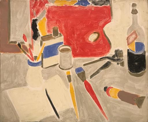 Henri WORMSER - Peinture - Les outils sur fond gris, 1957