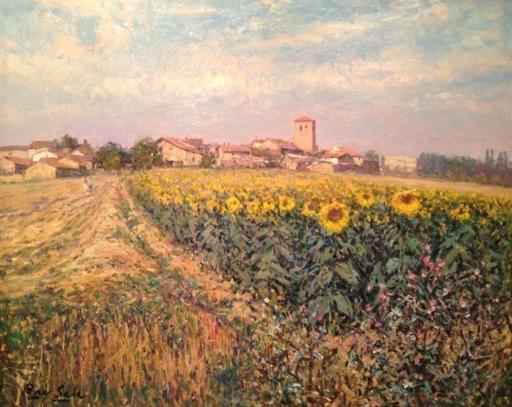 Juan BAYON SALADO - Pintura - El pueblo de los girasoles. Segovia