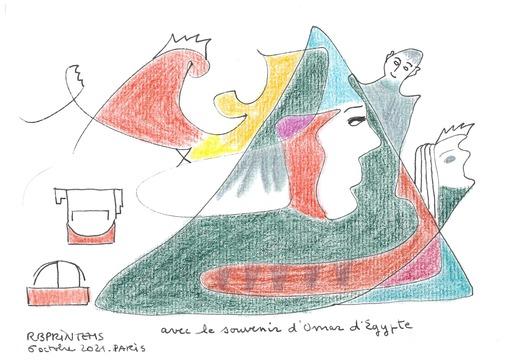 Reine BUD-PRINTEMS - Zeichnung Aquarell - avec le souvenir d'Omar d'Egypte
