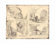 Camille Jean-Baptiste COROT - Estampe-Multiple - Le Jardin de Périclès, L'Allée des Peintres, Le Griffonnage