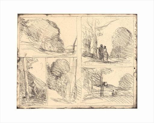 Camille Jean-Baptiste COROT - Print-Multiple - Le Jardin de Périclès, L'Allée des Peintres, Le Griffonnage