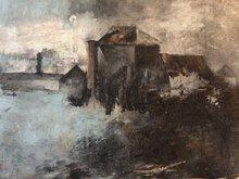 Robert LABOR - Painting - Moonlight on Pierrefonds