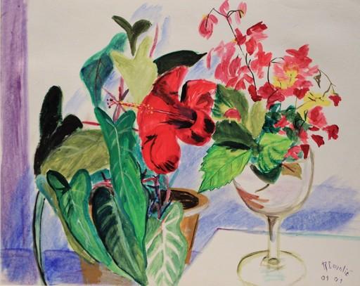 R.CAVALIÉ - Peinture - Nature morte à l'hibiscus.