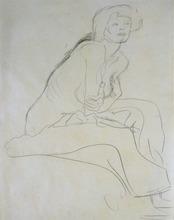 Gustav KLIMT - Dessin-Aquarelle - Seated Nude Leaning Forward
