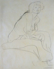 Gustav KLIMT - Drawing-Watercolor - Seated Nude Leaning Forward