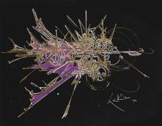 Georges MATHIEU - Dibujo Acuarela - Composition 1979