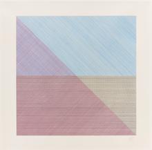 索尔·勒维特 - 版画 - Eight squares with a different color in each half square