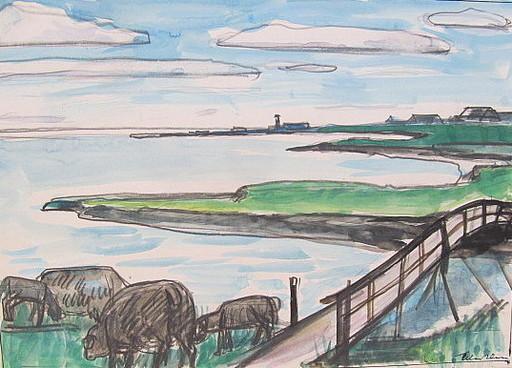 Paul MECHLEN - Drawing-Watercolor - Schafe an der Küste mit Holzbrücke.
