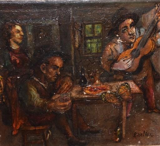 David BURLIUK - Gemälde - Tabern Scene