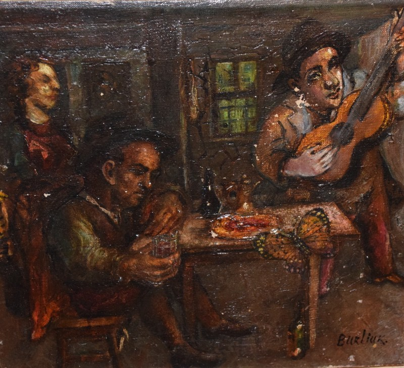 David BURLIUK - Painting - Tabern Scene
