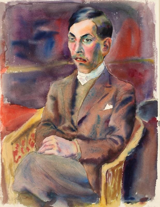 Rudolf SCHLICHTER - Dibujo Acuarela - Il pittore von Riper