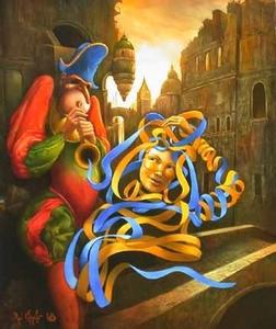 Serge VAN KHACHE - Painting - Blue ribbon