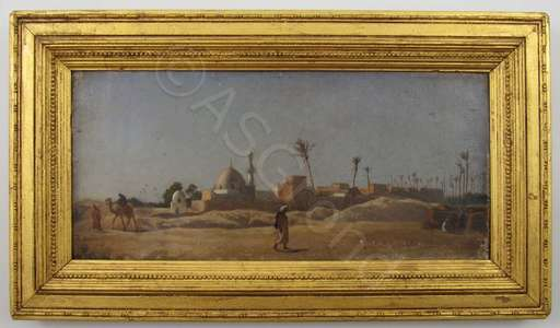 Frederick GOODALL - Peinture - A Desert Village at Midday, Egypt, North Africa