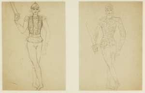 Nathalie GONTCHAROVA, A pair of costume design drawings for the opera Tsar Sultan