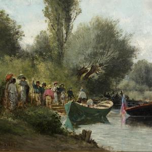 Charles DONZEL - Gemälde - Embarquement près du lac