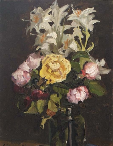"Vladimir M. SINITSKI - Pittura - ""Roses"", Oil painting by Vladimir Sinitski, 1948"