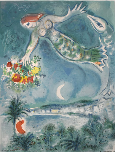 Marc CHAGALL - Estampe-Multiple - Siren and Fish, from: Nice and the Côte d'Azur