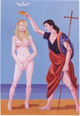 Giuseppe VENEZIANO - Painting - IL BATTESIMO DI PARIS HILTON (0013/VEG)