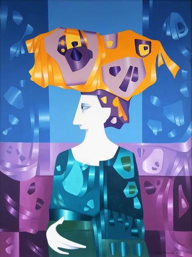 Cundo BERMUDEZ - Peinture - Figura con sombrero Multicolor