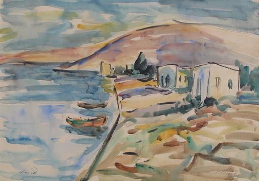 Sigmund LANDAU - Dibujo Acuarela - Israel Sea Landscape