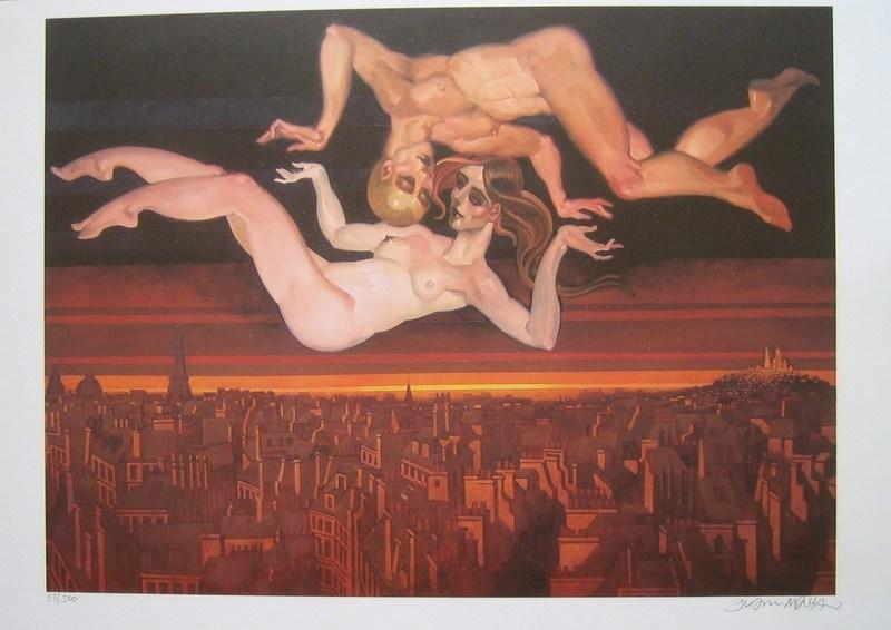 Juárez MACHADO - Grabado - Couple dénudé à Paris