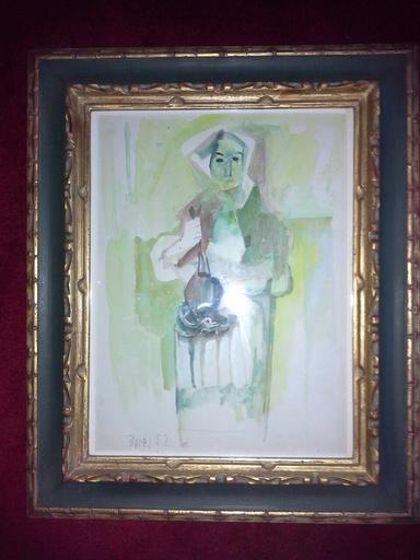 Francisco BORES - Drawing-Watercolor - ETUDE POUR PAYSANNE