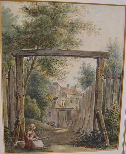 Victor Jean NICOLLE - Dibujo Acuarela - Entrée de village
