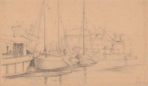 Otto NABER - Dibujo Acuarela - Am Hafen