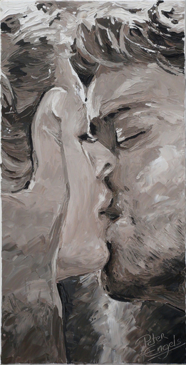 Peter ENGELS - Pintura - The Kiss - More passionate than Gustave Klimt