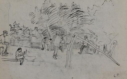 卡米耶•毕沙罗 - 水彩作品 - Auvers-sur-Oise Étude