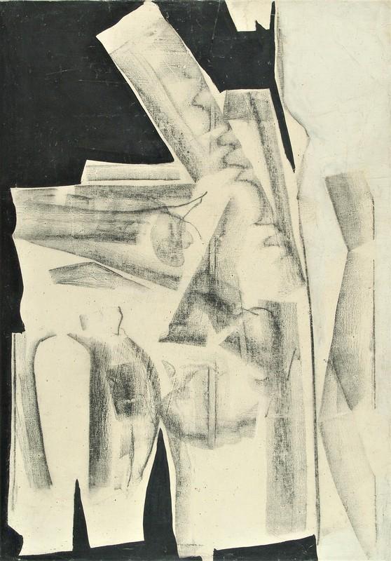 Herbert ZANGS - Painting - OHNE TITEL - FUSAIN - 1958