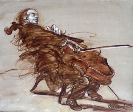 Claude WEISBUCH - Painting - LE VIOLONCELLISTE