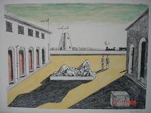 Giorgio DE CHIRICO - Grabado - Piazza d'I talia 1969