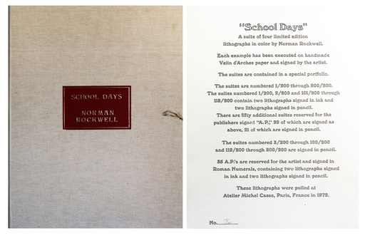 Norman Perceval ROCKWELL - Grabado - School Days - 4 Signed Lithographs