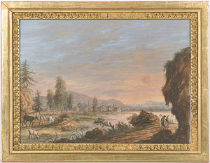 """Christophe-Ludwig AGRICOLA - Drawing-Watercolor - """"Sunrise"""", Gouache, 17th/18th Century"""