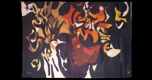 Mario PRASSINOS - Tapestry - la tarasque rouge