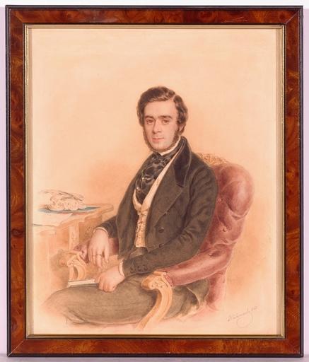 """Anton HÄHNISCH - Dessin-Aquarelle - """"Portrait of a Gentleman"""", Watercolor, 1843"""