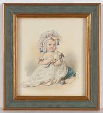 "Franz PITNER - Miniature - ""Marianne Schieder as Child"", 1855, Watercolor"