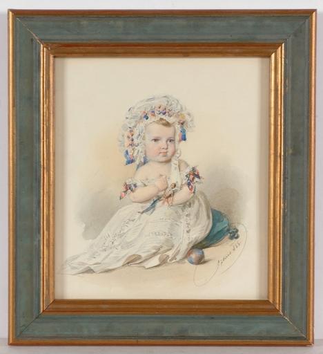 """Franz PITNER - Miniatura - """"Marianne Schieder as Child"""", 1855, Watercolor"""