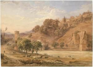 Friedrich HORNER - Disegno Acquarello - Narni mit einem Bogen der Augustsbrücke.