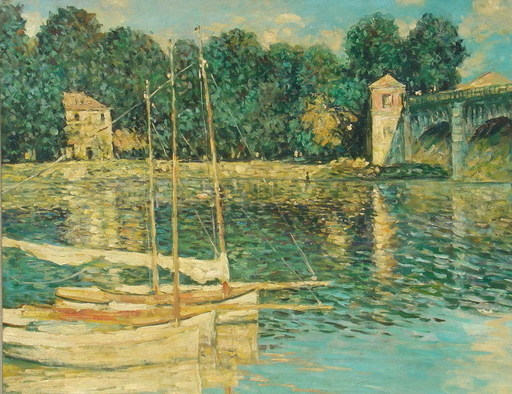 Hendrik Jan WOLTER - Gemälde - Fluß mit Booten, Pointillism