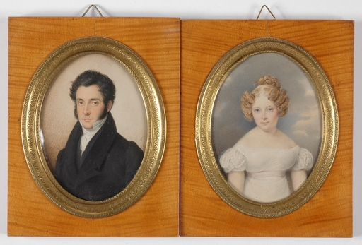 Karl VON SAAR - Miniature - Portraits of Count Karl Maria von Lodron and His Wife, 1835