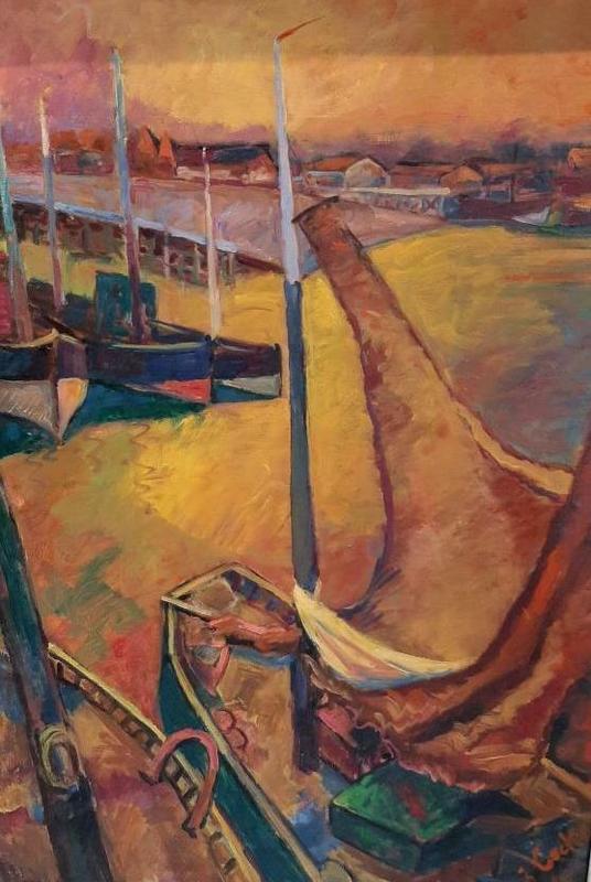 Jan COCKX - Pintura - Marine vissersboten aan de kade