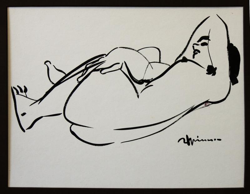 Raymond ESPINASSE - Zeichnung Aquarell - Nu