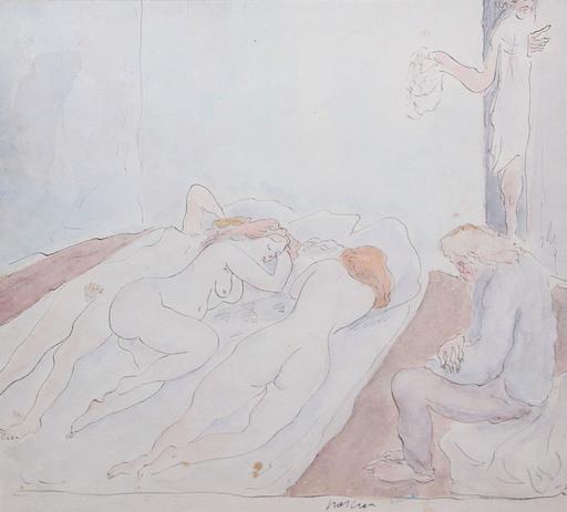 Jules PASCIN - Zeichnung Aquarell - Scène de maison close