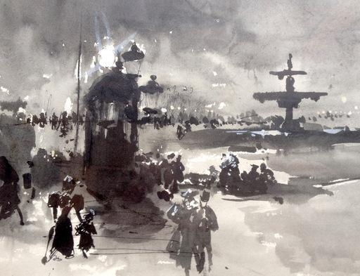 Ulpiano CHECA Y SANZ - Drawing-Watercolor - Place de la Concorde-Paris