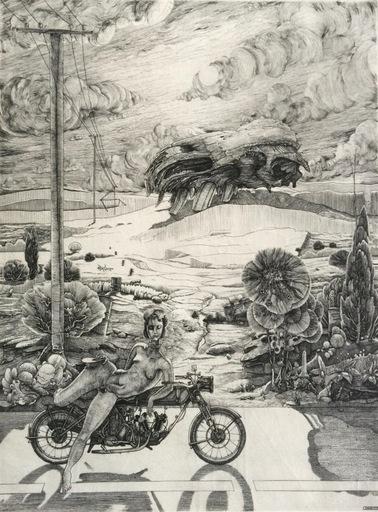 Philippe MOHLITZ - Grabado - Jeune hermaphrodite disposant d'une motocyclette & Esquisse