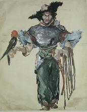 Konstantin A. KOROVIN - Dibujo Acuarela - Prince Igor. Costume for Feodor Chaliapin as Khan Konchak