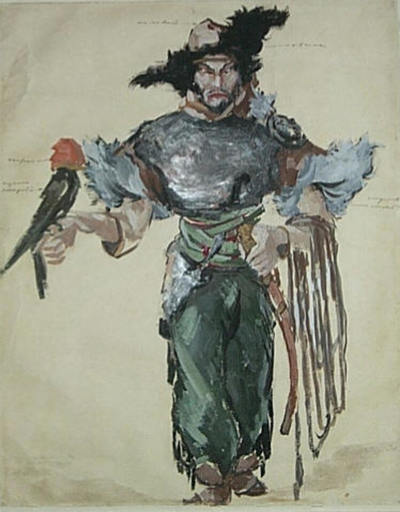 Konstantin A. KOROVIN - Drawing-Watercolor - Prince Igor. Costume for Feodor Chaliapin as Khan Konchak